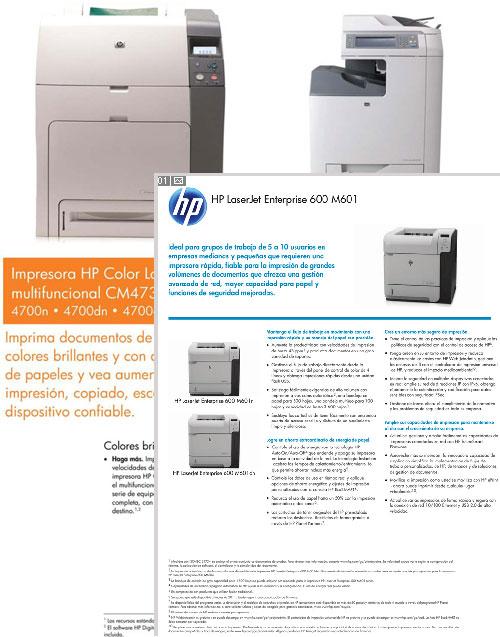 especificaciones tecnicas impresoras hp